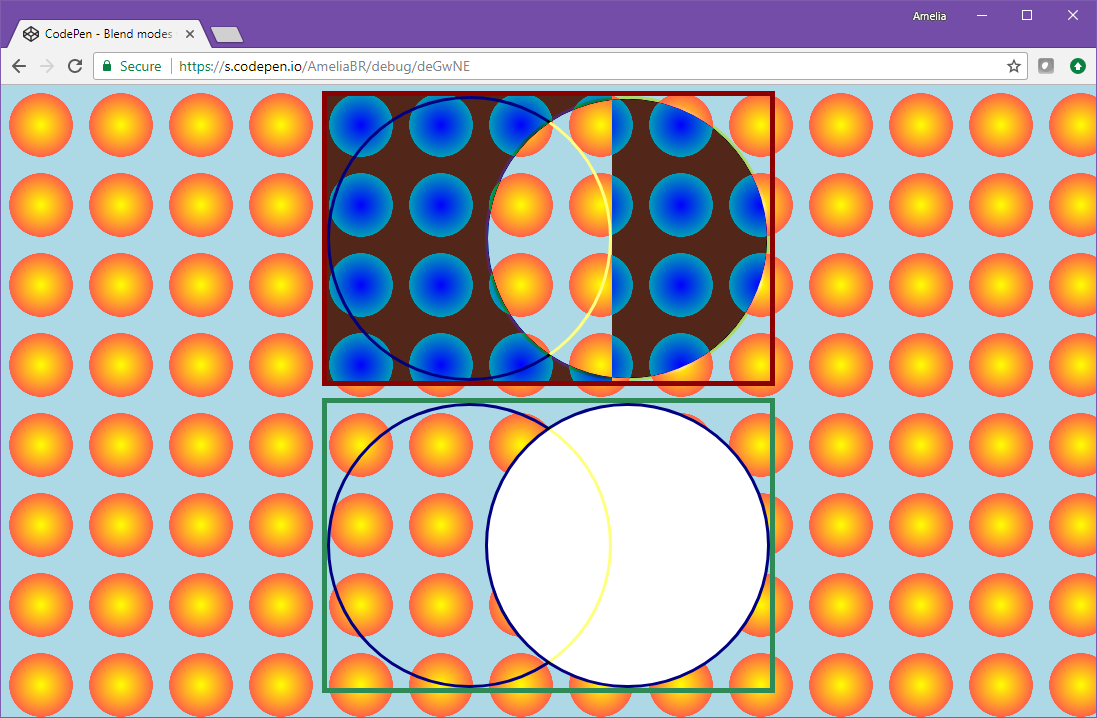 In the unisolated case, both the invert backdrop filter and the difference mix-blend-mode cause the web page background to be inverted from orange circles on light blue to blue circles on brown; for the filter (left) the effect is applied as a square, ignoring the circular border of the test case; in the isolated case, the background is unaffected by either element.