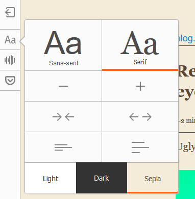 The Firefox reader mode font and color dialog, with color options as described.