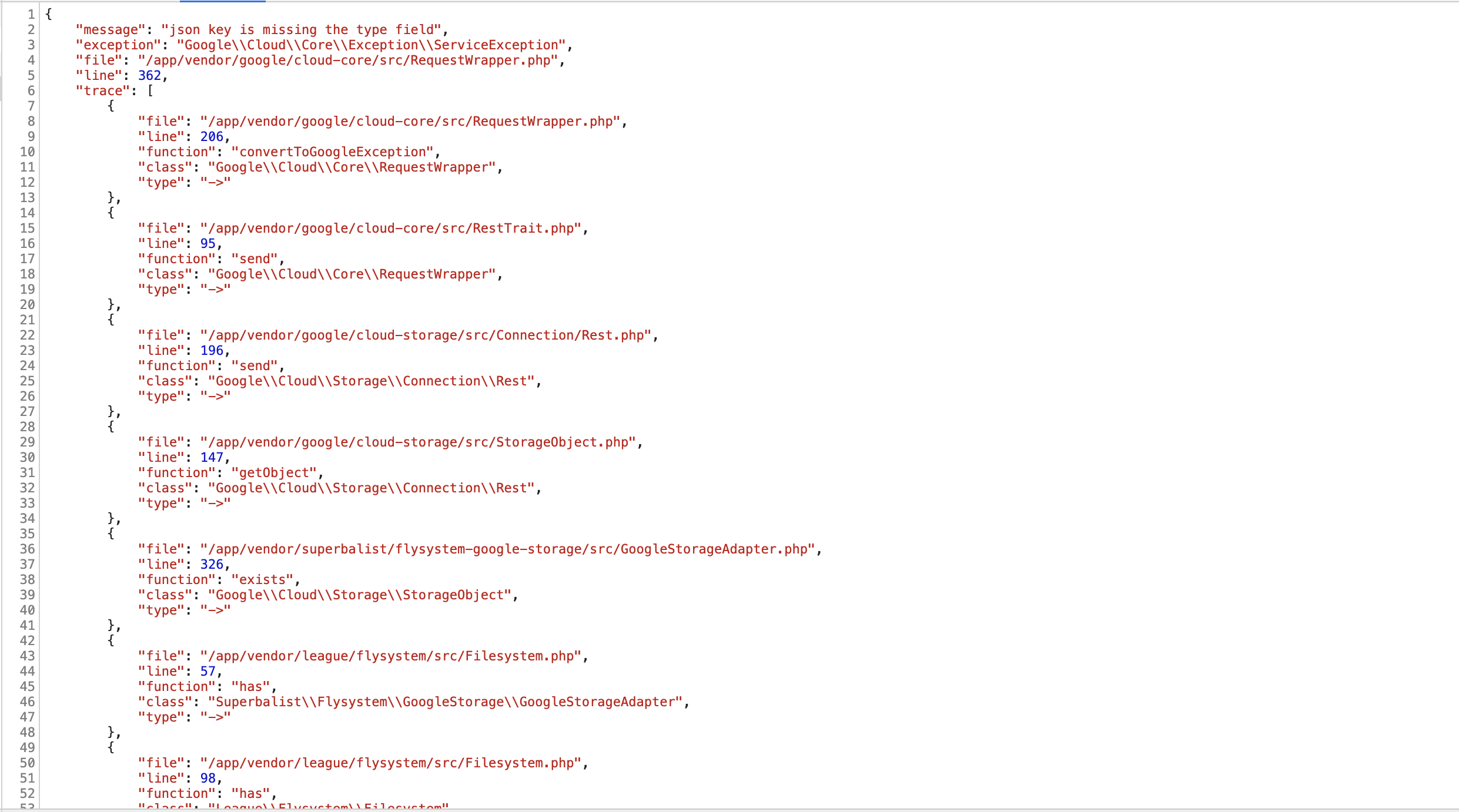 ServiceException) json key is missing the type field · Issue