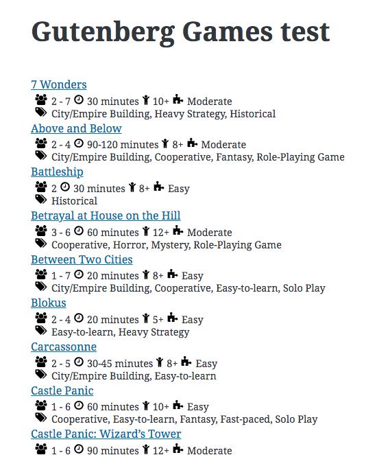 Games Collector Gutenberg block