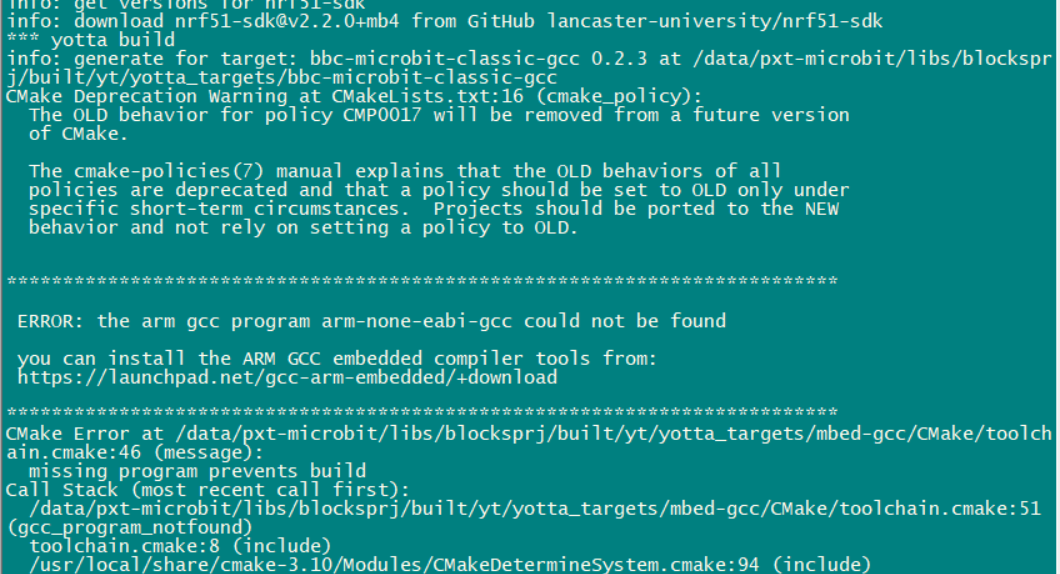 ERROR: the arm gcc program arm-none-eabi-gcc could not be found