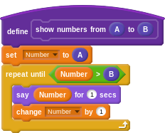 """define """"show numbers from (A) to (B)"""": set Number to A; repeat until Number > B: say Number for 2 secs, change Number by 1"""