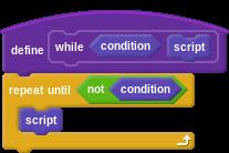 "define ""while (condition) (script)"": repeat until (not (condition)), script"