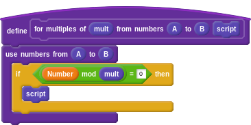 """define """"for multiples of (mult) from numbers (A) to (B) (script)"""": use numbers from (A) to (B): if (Number mod mult = 0) then: script"""