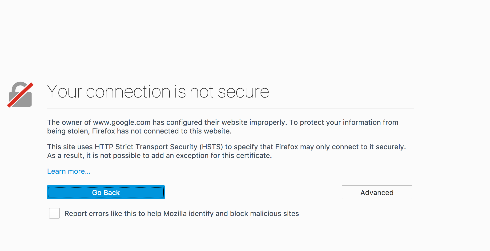 Your connection is not secure · Issue #798 · mozilla