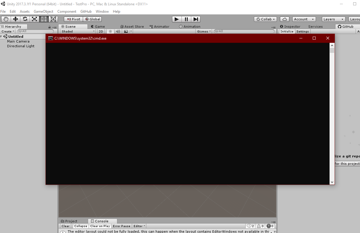 Command Line not showing · Issue #598 · github-for-unity