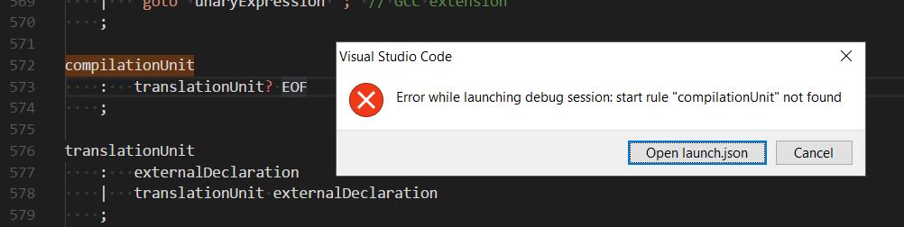 start rule error