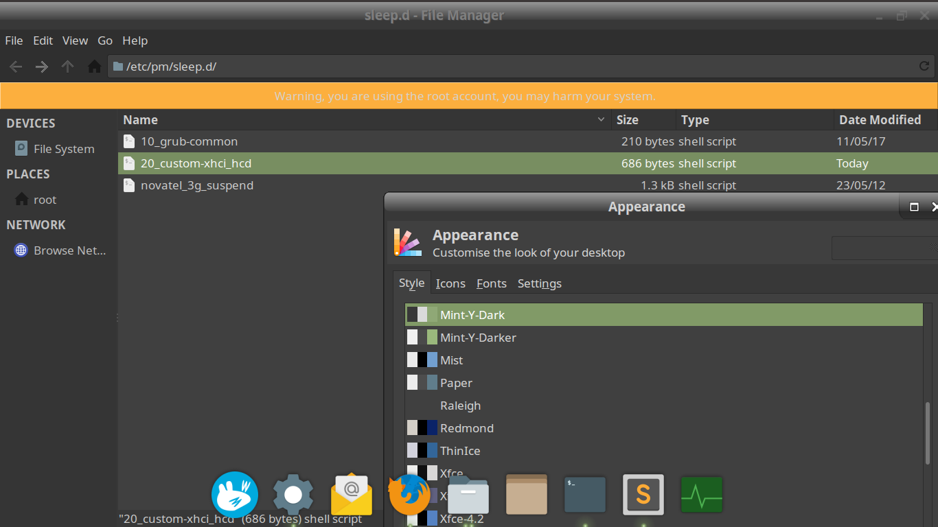 XFCE: Mint-Y theme + root Thunar = unreadable banner · Issue #24